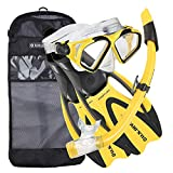 U.S. Divers Adult Cozumel Mask/Seabreeze II Snorkel/Proflex Fins/Gearbag, Medium-Large, Yellow