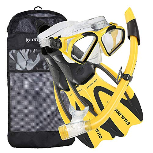 U.S. Divers Cozumel Seabreeze Adult Snorkeling Combo Set with Adjustable Mask, Snorkel, Large Fins (9.5-11.5), and Travel Bag, Yellow