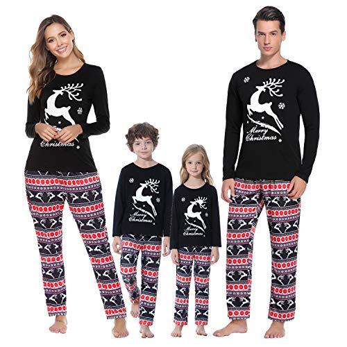 iClosam Familien Pyjama Zweiteilige Lang Streifen Weihnachts Pyjama (Kind-Schwarz-2,...