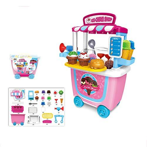Yavso Juego de juguetes para carrito de helado, juego de juguetes para niños, helado, juego de rol, comida y postre para niños y niñas