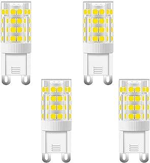 LXcom G9 LED Bulb 5W LED Corn Light Bulbs(4 Pack) G9 Ceramic Bulbs Replacement 50W Equivalent Halogen Bulbs Daylight White 6500K G9 LED Bulbs for Home Lighting Ceiling Fan,AC110V