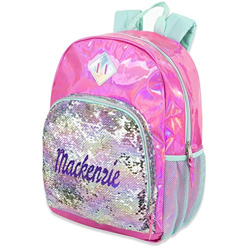 Personalized Magic Reversible Sequins Backpack (Pink Hologram with Silver Sequins)