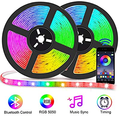 Bluetooth LED Strip Lights with App Control, Music Sync LED Light Strip 32.8ft Waterproof, Flexible Color Changing RGB Light Strips with Remote SMD 5050 300 LEDs Neon Lights for Bedroon Room Bar Party