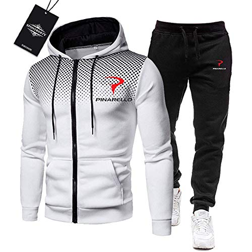 MAUXpIAO Uomini Tracksuit Impostato Jogging Completo da Uomo Pina-Rello Cappuccio Zip Giacca +. Pantaloni Sport R Gli Sport/bianca/XXXL