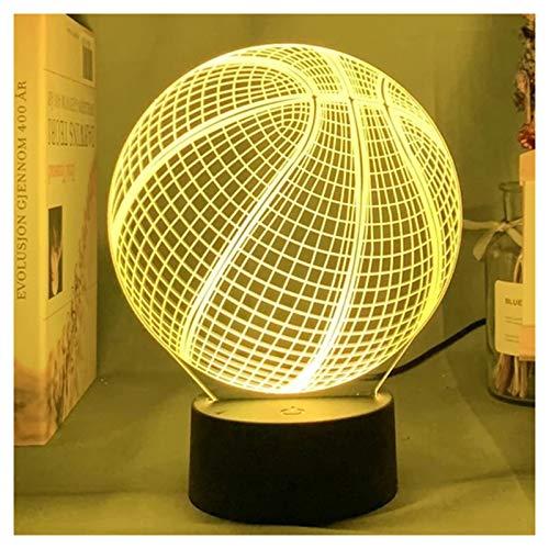 Speaklaus Lámpara de noche con ilusión en 3D, diseño de pelota de baloncesto, acrílico, luz nocturna de colores, para sala de control, decoración para dormitorio o noche