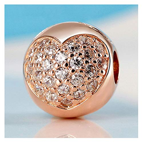 HAIXUE Auténtico 925 Silver Charm Bead Rose Love of My Life Clip Stopper Charms Fit Brazalets Mujeres DIY Joyería (Color : Rose Gold)