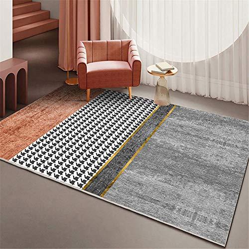 alfombras de Pasillo Habitación para niños Dormitorio Alfombra Rectangular Antideslizante Anti-caída Gris Naranja alfonbras de Salon Grandes alfombras Comedor 180X280CM 5ft 10.9' X9ft 2.2'