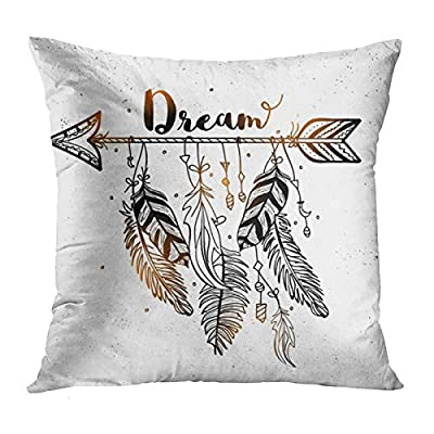 Dream Catcher Black White and Gold Throw Pillow