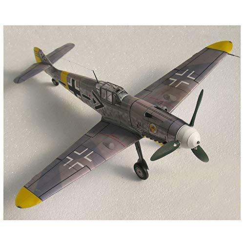 Lllunimon 1/32 Luchador alemán Messerschmitt BF-109 DIY DIY 3D Modelo de Papel Conjuntos de Edificios Juguetes educativos Modelo Militar