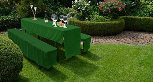 Gartenstuhl-Kissen Hussen Set Festzelt Set Bierbankhussen Bierbankgarnitur in dunkelgrün 100% Polyester