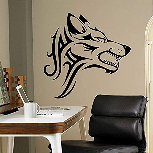 Zbzmm Lupo Tribale Adesivo Bestia Animale Vinile Adesivo Decorazioni Per La Casa Idee Per Pareti Interne Office Cool Wall Decoration 57 * 56Cm
