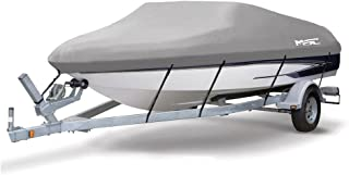 MSC Heavy Duty 600D Marine Grade Polyester Canvas Trailerable Waterproof Boat Cover, Grey,Fits V-Hull,Runabout Boat Cover,Full Size Boat Cover, Mooring and Storage Used Boat Cover
