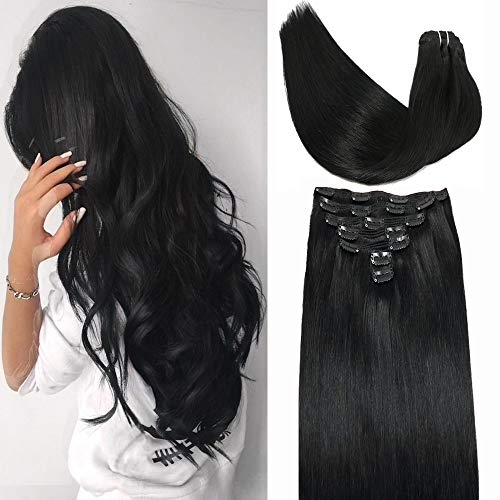 Hair Extensions Clips in Human Hair 10A Grade 120g 7pcs with 17Clips 100 Natural Hair Extensions Jet Black Double Weft Full Head Extensions Human Hair Natural Clip in Remy Hair 18in
