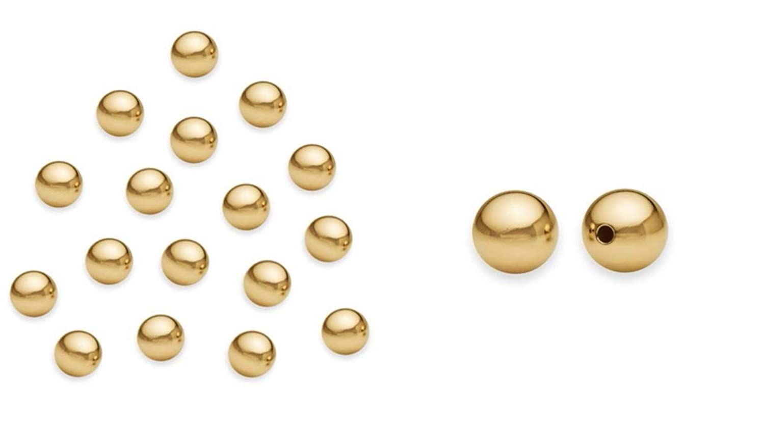 30pcs 14k Gold on Sterling Silver 6mm Seamless Smooth Loose Round Spacer Beads for Jewelry Craft Making Findings SS342