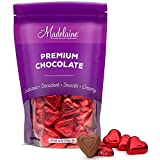 Madelaine Premium Chocolate Hearts Valentines Candy - Solid Milk Chocolate Heart Shaped Candy Wrapped In Italian Foil (Red, 1 LB)