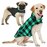 AOFITEE Reversible Dog Cold Weather Coat, Waterproof British Style Plaid Winter Pet Jacket, Warm Cotton Lined Vest Windproof Collar Outdoor Apparel for Small Medium Large Dogs