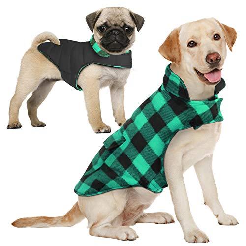 AOFITEE Reversible Dog Cold Weather Coat, Waterproof British Style Plaid Winter Pet Jacket, Warm...