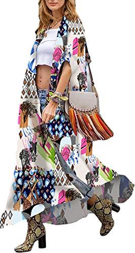 Kimonos Women' s Kimono Summer Long Kimono Robes Colorful Kimono Cardigans Bird Geometry Print Kimonos Clearance Floral Open Front Kimono Beach Cover up Dress dusters for Jeans Tank Tops (282)