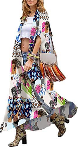 Beach Cover up Kimonos Women' s Bird Geometry Print Summer Kimono Open Front Light Weight Swimsuit Cover ups Long Colorful Floral Kimono Coverups Short Sleeve Kimono Robes Cardigans dusters (282)