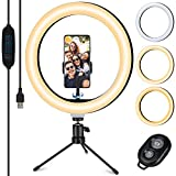 tvlive luce per selfie, 10.2 led ring light con stativo treppiede, 3 modalità colore,10 livelli di luminosità e telecomando wireless,supporta youtube/streaming live/trucco/fotografia