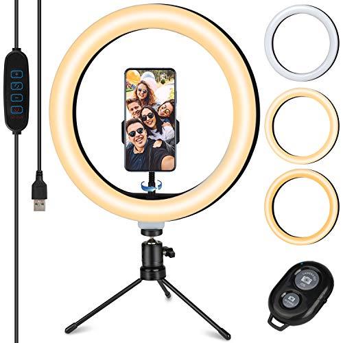"TVLIVE Aro de Luz 10.2"" con Tripode, 3 Modos de Luz, 10 Niveles de Brillo 360º Soporte Ajustable Ring Light, Anillo de Luz Control Remoto Inalámbrico, Aro de luz para Móvil TIK Tok Maquillaje Selfies"