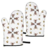 zsxaaasdf 2pc Microwave Gloves, Premium Soft Flexible Oven Gloves, Honeybees Bee Art Insect Heat Resistant Kitchen Gloves, Pot Holders for Kitchen Cooking Baking Grilling Microwave