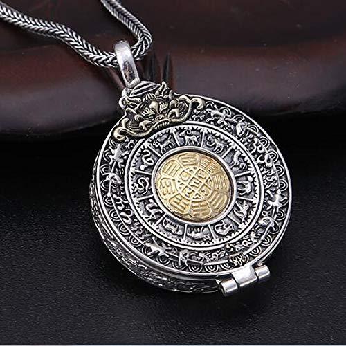 K-ONE 925 Silber Tibetan Anhänger Halskette Buddhistische Vajra Box Anhänger Tibetan Nine Direction Eight s Anhänger-Mit 45Cm Halskette
