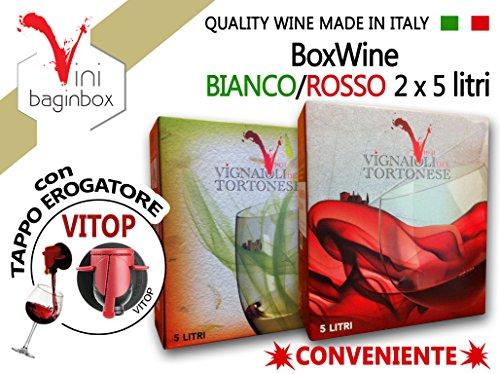 2 X 5 Litri BAG-IN-BOX: ROSSO & BIANCO uvaggi Barbera & Cortese Colli Tortonesi Piemonte