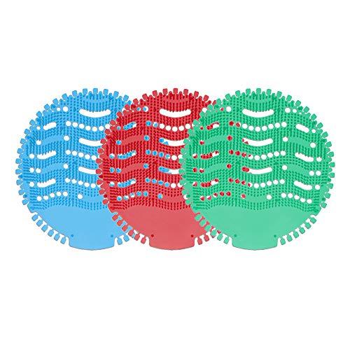 Mousyee UrinalSieb, 3 Stücke Urinalsieb Duft, mit Duft- und Spritzwasserschutz, Filter mit Antibakterieller und Entkalkender Funktion, Antimikrobielle Matte für Badezimmer und Schule (Rot, Blau, Grün)