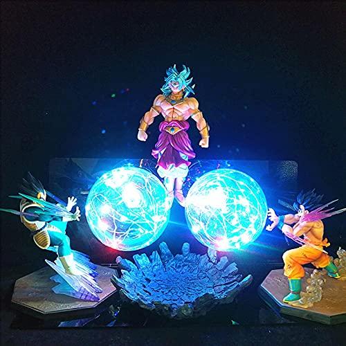 Anime Dragon Ball z noche luz lámpara de mesa led luminoso creativo estatuilla juguete Vegeta Broly Goku-Color