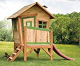 Beauty.Scouts Holzspielhaus Vetle mit Veranda Leiter Rutsche 177x264x203cm Zedernholz in braun Kinder Spielhaus Kinderspielhaus Gartenhaus Holzhaus Stelzenhaus