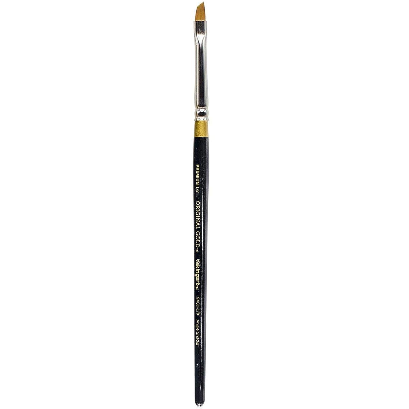 KINGART Original Gold 9400-1/8, Premium Artist Brush, Golden TAKLON Angular Shader-Size: 1/8, Black