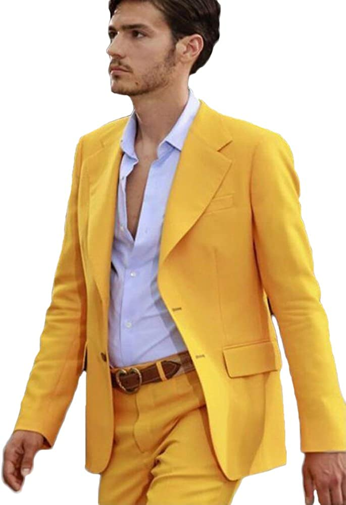 TOPG Men's Suit Notch Lapel 2 Pieces Two Botton Slim Fit Wedding Suit Business Suit Summer Suit