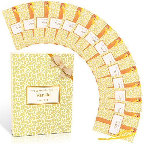 SCENTORINI Bolsitas perfumadas de vainilla, bolsas aromáticas, para cajones, armarios, habitaciones, armarios, baños, coches, regalos del día de San Valentín (14 bolsas)