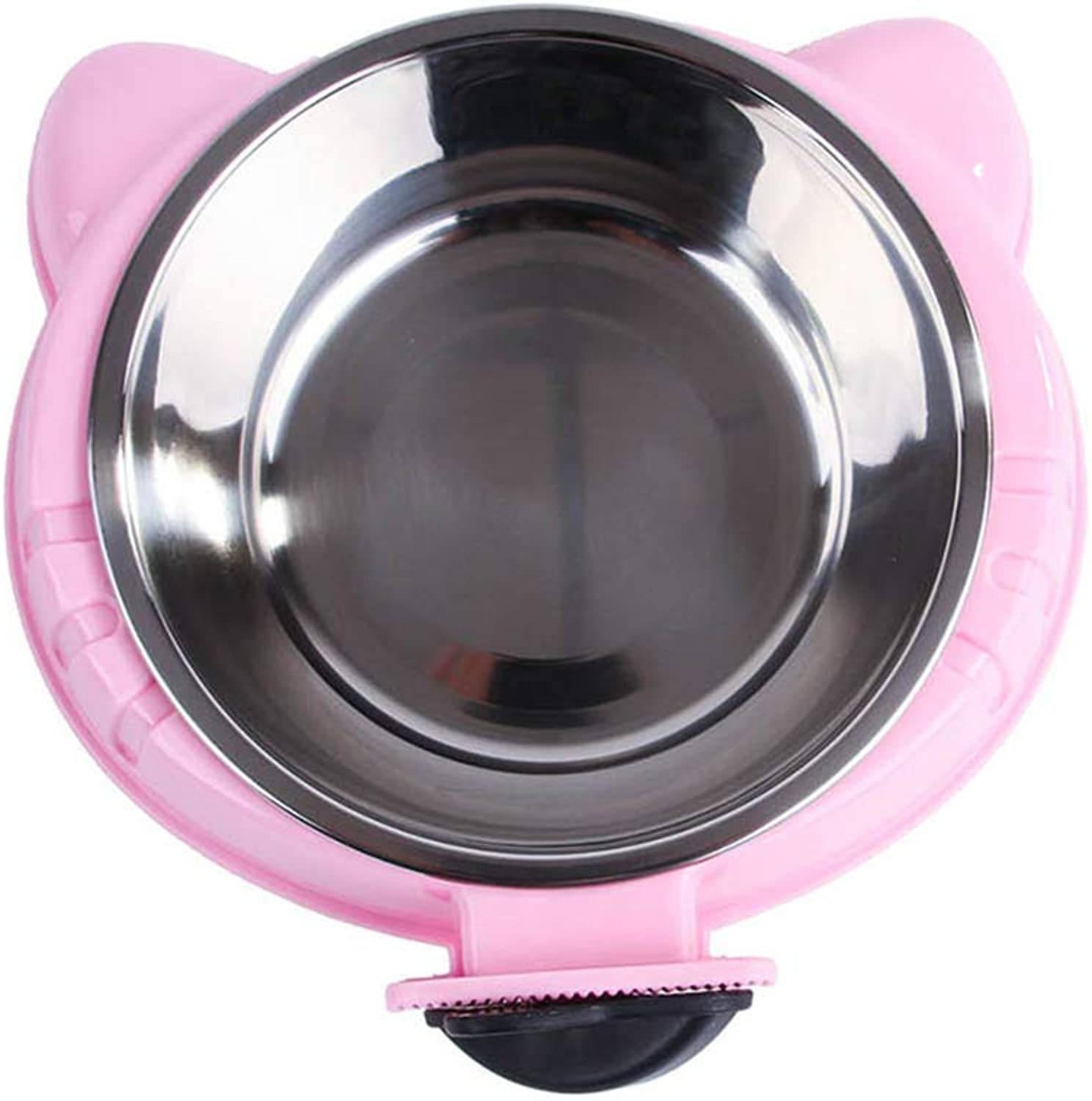 LEIYING Dog Bowls Universal Dog Cat Bowls Stainless Steel Pet Bowls Cat Ears Shape Portable Carrier