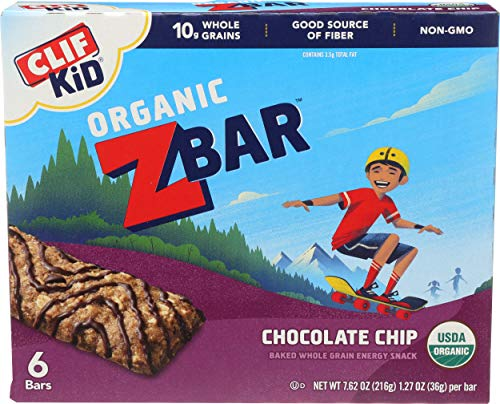 CLIF KID ZBAR - Organic Granola Bars - Chocolate Chip - (1.27 Ounce Energy Bars, Lunch Box Snacks, 6 Count)