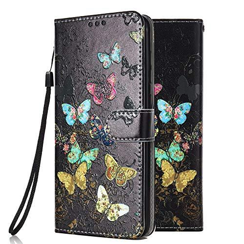 Funda Libro para Samsung Galaxy J3 2017 Carcasa de Cuero PU Premium Flip Wallet Case Cover con Tapa Teléfono Piel Tarjetero - Mariposa Colorida
