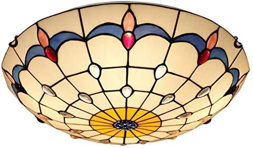 WTTWW Tiffany Redonda de Techo Sala de Techo Techo de Cristal Creativa Ligera Sombra, iluminación Convencional para la Mesa de Comedor Restaurante Hotel Cafetera