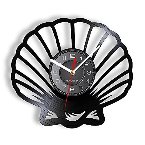 yltian Reloj de Pared con Disco de Vinilo de Concha Marina, decoración náutica para el hogar, álbum de Vinilo costero, Obra de Arte, Reloj de decoración de casa de Playa