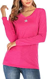 Women's Casual Long Sleeve Solid Soft V-Neck Pullovers T-Shirt Top