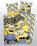 BrandMac ApS Minions - Juego de cama infantil (funda nórdica de 140 x 200 cm y funda de almohada de 65 x 65 cm, 100% algodón)