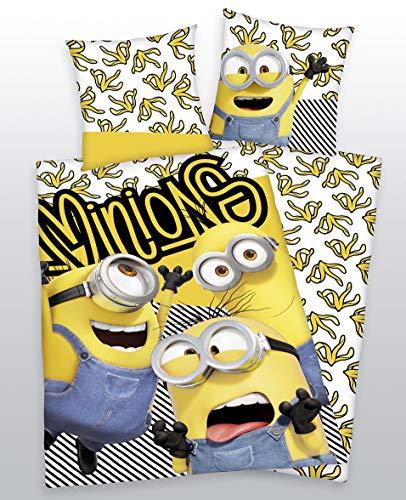 BrandMac ApS Minions Kinder Bettwäsche-Set, Bettbezug 140 x 200 cm + Kissenbezug 65 x 65 cm 100% Baumwolle