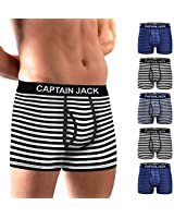 Mens Boxer Briefs 5 Pack No Ride-up Comfortable Breathable Cotton Stripe Sport Regular Leg Underwear M