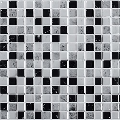 FLLKIHH Adhesivos 3D para Azulejos Pelar Y Pegar Azulejos De Pared Transfers Mosaico Papel Pintado Autoadhesivo Pegatinas De Vinilo para Salpicaduras De Cocina Baño (30 × 30 Cm),B,5PC