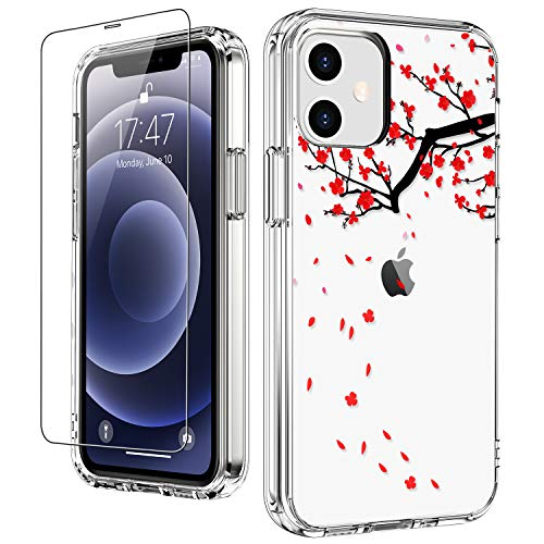 """LUHOURI for iPhone 12 Case,iPhone 12 Pro Case with Screen Protector,Plum Blossom Floral Flower Designs on Crystal Clear Cover for Women Girls,Protective Phone Case for iPhone 12/12 Pro 6.1"""""""