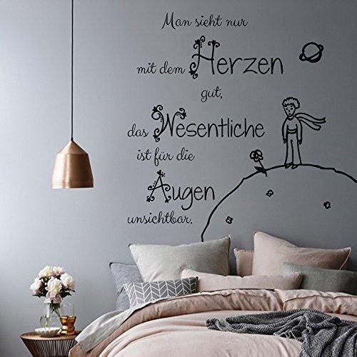 DecalStoreVienna Vinyl Wandtattoo Man Sieht nur mit dem Herzen gut das Wesentliche Der kleine Prinz Zitat Wandsticker Wanddekoration für Schlafzimmer Kinderzimmer Babyzimmer S77