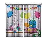 Cortinas plisadas de aislamiento térmico para niños, diseño de pájaros cantando felices banderas de canciones de cumpleaños con cono, para travesaños y rieles, multicolor
