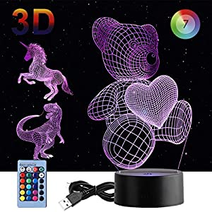 3D Night Light, 3 in 1 DUUDO 3D Dinosaur Illusion Night Lamp Elstey 7 Colors with Remote Control, Best Birthday Gifts for Kids (Dinosaur, Unicorn and Teddy Bear Heart Included)