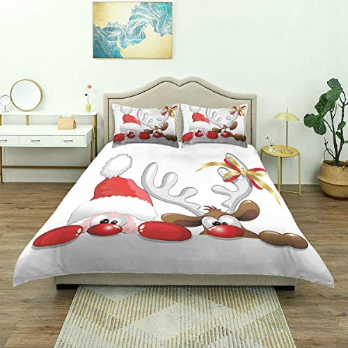 Duvet Cover,Christmas Funny Santa Reindeer Print,Luxury Bedding Set Comfy Lightweight Microfiber (3pcs Quilt Cover)