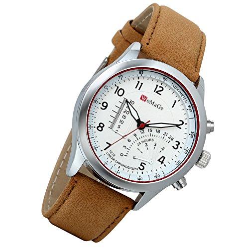 Lancardo 2PCS Herren Quarz Uhr Armbanduhr Herrenuhr Einzeigeruhr Leder Armband, 24H Digital Zifferblatt Temperaturanzeige,Braun